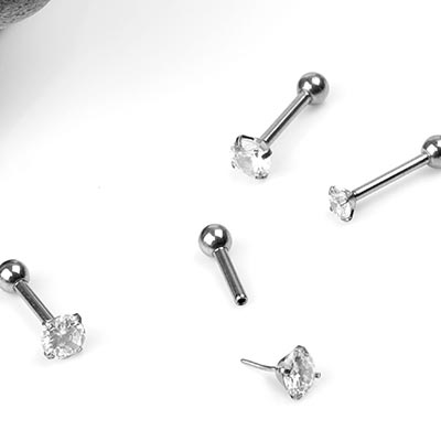 Threadless Titanium and Prong Set Gem Barbell