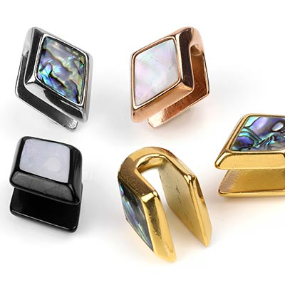 Steel and Abalone Shell Diamond Weights