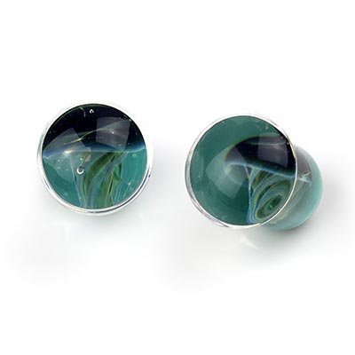 Single Flare Jellyfish Plugs | Blue Moon on Light Aqua