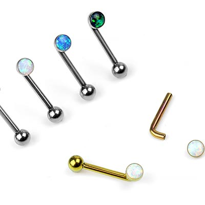 Titanium L-Barbell with Synthetic Opal