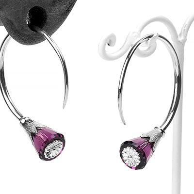 Sterling Silver Tsabit Design with Purple Swarovski Crystal Flowers