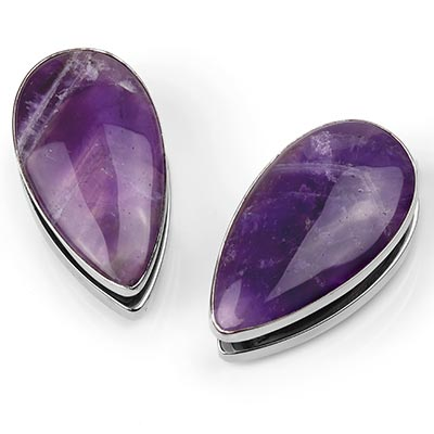Solid White Brass Long Spade Weights with Amethyst