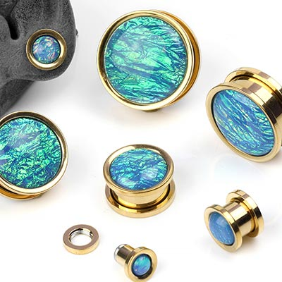 Steel and Blue Foil Plugs