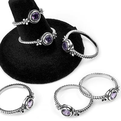 Silver and Amethyst Daisy Ring