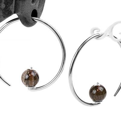 Sterling Silver Round Dew Drop Design with Bronze Rutilated Quartz