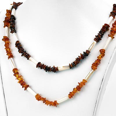 Amber and Shell Bead Necklace