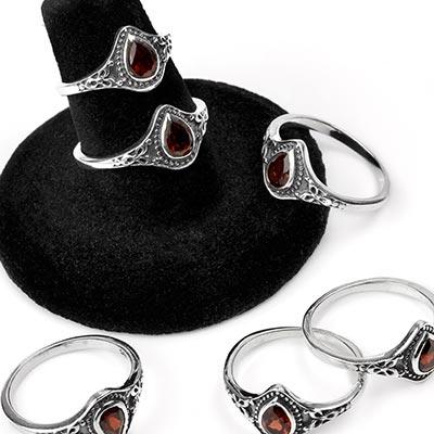 Silver and Garnet Teardrop Ring