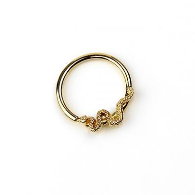 14K Gold Snake Fixed Bead Ring