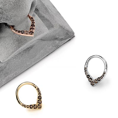 14K Gold Rise and Shine Septum Clicker with Smokey Quartz