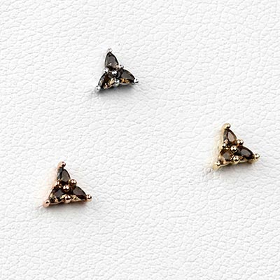 Solid 14k Gold 3 Little Pears Threadless End - Smokey Quartz