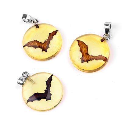 Carved Bat Amber Pendant