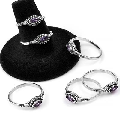 Silver and Marquise Amethyst Ring