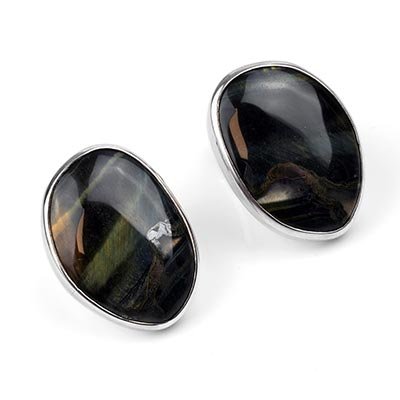 Silver Plugs with Free Form Blue Tiger Eye
