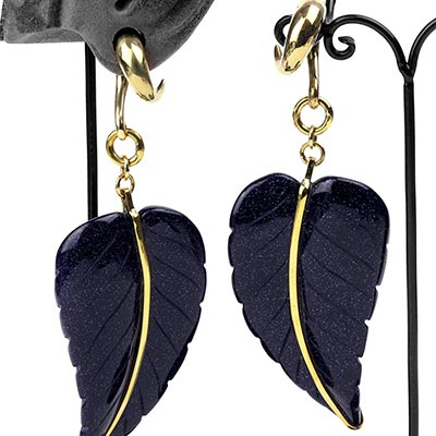 Solid Brass and Blue Goldstone Leaf Weights