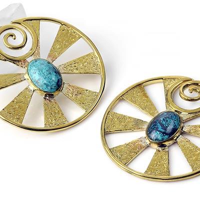 Brass Eye of Shiva Design with Chrysacolla