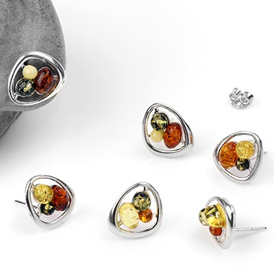 Silver and Mixed Amber Retro Stud Earrings