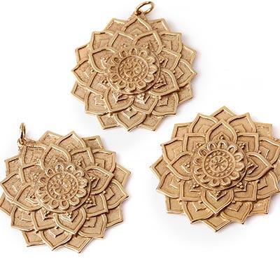 Bronze Lotus Mandala Pendant