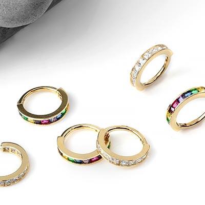 14K Gold Princess Cut Side Set Gemmed Clicker