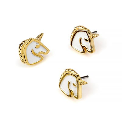 14K Gold White Enamel Unicorn Threadless End