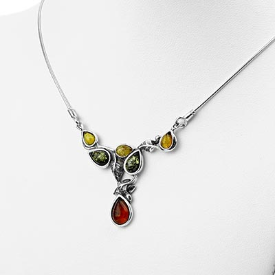 Silver and Amber Vineyard Necklace