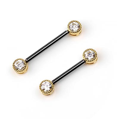 Titanium Threadless Barbell with 18K Gold Foward Facing Scalloped Bezel Set Ends