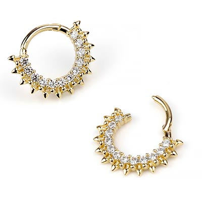 14k Gold Prong Set Gemmed Clicker With Spikes