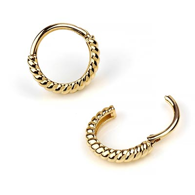 14K Gold Twisted Rope Clicker