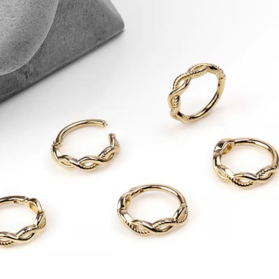 14k Gold Double Twisted Rope Clicker