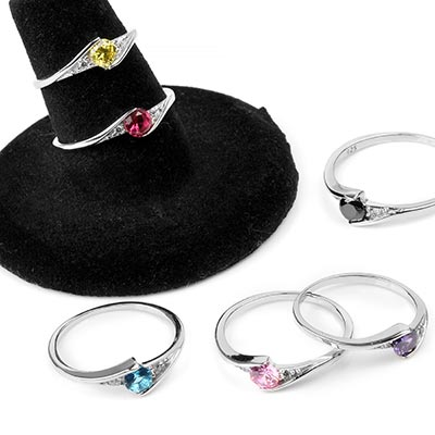 Silver and Gemstone Solitaire Rings