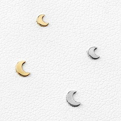 14K Gold Threadless Moon End