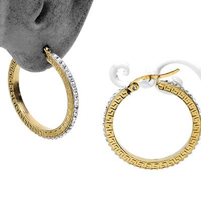 Steel Gemmed Labyrinth Hoop Earrings