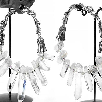 Solid White Brass and Quartz Crystal Lotus Hoops