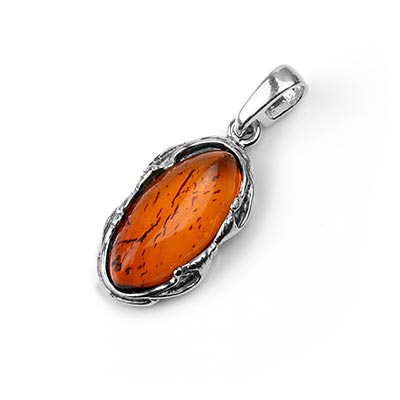 Silver and Oval Baltic Amber Pendant