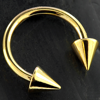 Gold Colored Circular Barbell with Cones