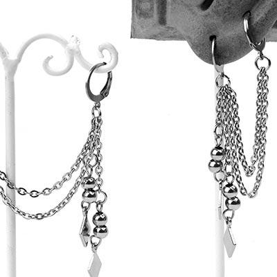 Steel Double Diamond Drop Huggie Earring