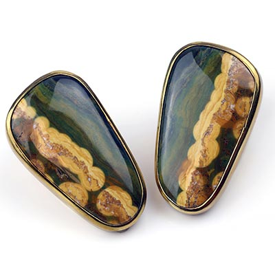 Solid Brass Plugs with Free Form Ocean Jasper
