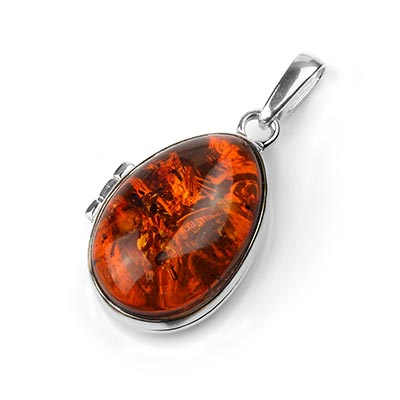 Silver and Amber Locket