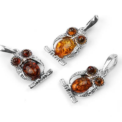 Silver and Perched Amber Owl Pendant