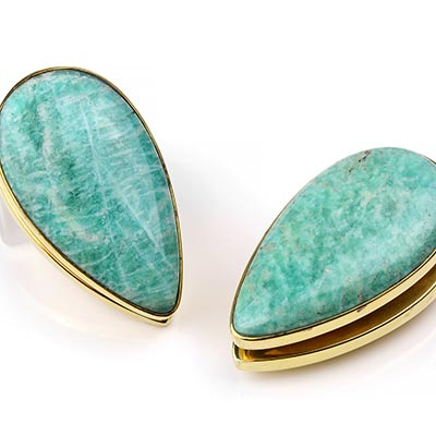 Solid Brass Long Spade Weights with Amazonite