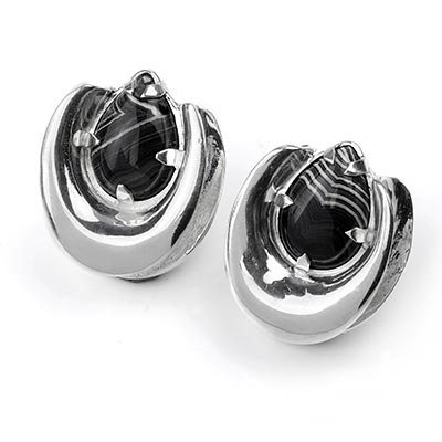 Sterling Silver Saddles with Banded Agate