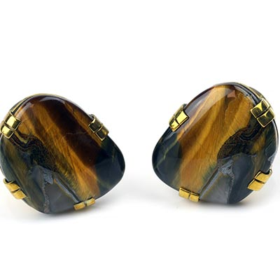 Solid Brass Plugs with Free Form Blue Tiger Eye