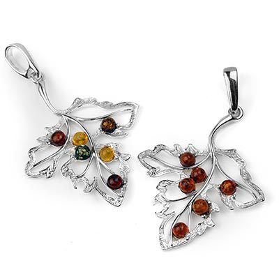 Silver and Amber Maple Leaf Pendant