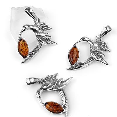 Silver and Amber Bird Pendant