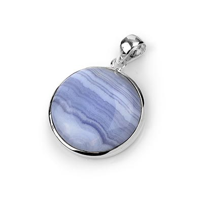 Silver and Blue Lace Agate Pendant