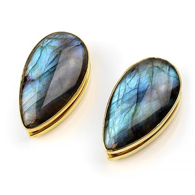 Solid Brass Long Spade Weights with Labradorite