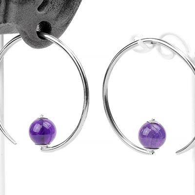 Silver Round Dew Drop Design with Amethyst