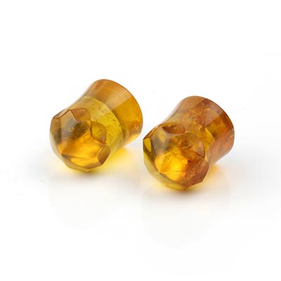 Dominican Amber Faceted Plugs