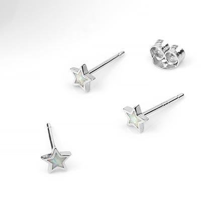 Silver and White Opal Star Earrings