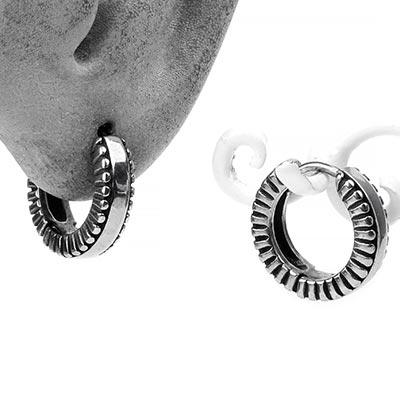 Steel Banded Huggie Earring