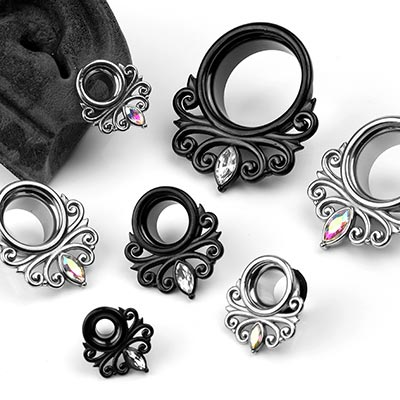 Steel Filigree Gem Eyelets